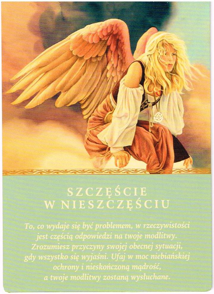 Znalezione obrazy dla zapytania karty anielskie szczęście w nieszczęściu
